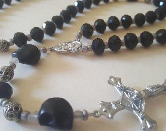 Black and Silver Skull Rosary