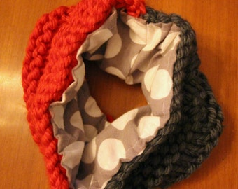 Knitted infinity scarf doubled 3 years +.