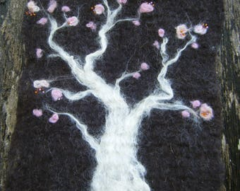 Felted wool board branch pink cherry blossom or tree