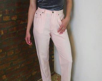 LIZ CLAIRBORNE 90'S pink linen high waisted pants Sz 6