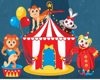 Circus clipart, Carnival Clipart, Circus images, Clown, Lion, Elephants, Monkey, Digital clipart, Digital image, Commercial Use, PNG