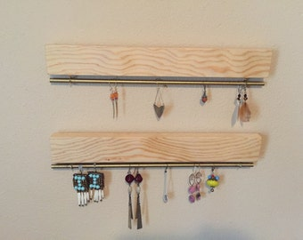 Wall Mounted Wood Earring & Necklace Hangers