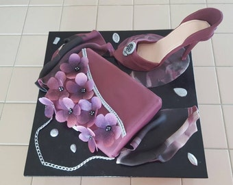 Purse faux cake dummy cake display cake and shoe