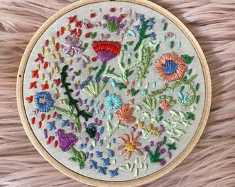Floral Embroidery Hoop- 11cm colourful embroidery art