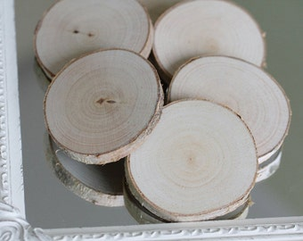 Set of 20 birch slices, rustic wedding decor, wooden slabs, wood circle,  birch coasters, craft slices, tags slices, tree slices, DIY slices