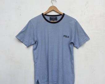 15% Sale Vintage POLO SPORT By Polo Ralph Lauren Small Embroidery Spellout Polo Stripe T-Shirt Size Size S #282