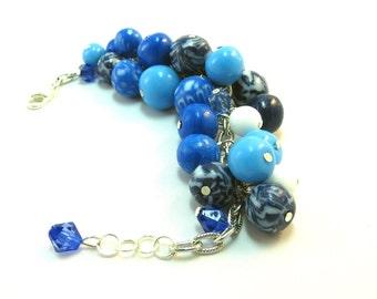 Christmas in July Blue white beads bracelet Mom girlfriend dark blue bracelet Fashion blue jewelry Beaded handmade Summer sale bracelet