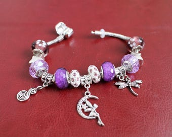 "European style like Pandora Bracelet, Fairytale theme with Purple Crystal, Rhinestone,Murano Glass Beads, size 7.45"""