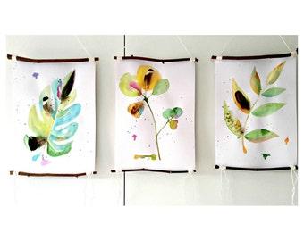 BOTANICAL art set   watercolor leaves, nature artwork, foliage painting, boho art, gift nature lover, nature wall decor, original painting