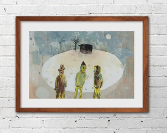 Brothers A4 print of original painting allegory dream
