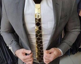 Dapper Gold Style Tie - Honeycomb Style ( Suit Accessories - NeckTie, Hex Neck tie Style)