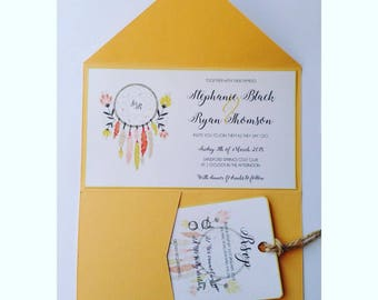 Dream catcher hippe bright themed wedding invitation wedding stationery