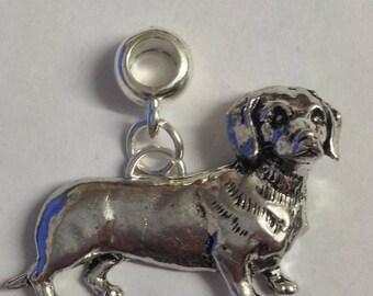 Dachshund with 5mm Hole to fit Pendant Charm Bracelet European also fits Pandora Bracelets , necklaces refD12