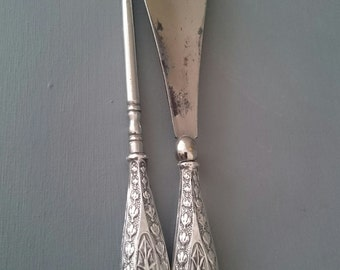 Silver Handled Antique Button Hook and Shoe Horn. William Vale and Sons