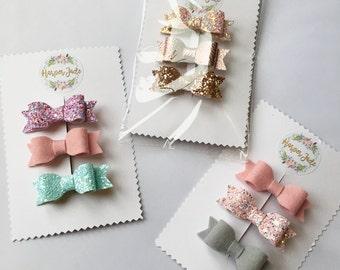 Clip sets, Bow set, Baby clip sets, Fringe clips, rose gold, bows, gift sets