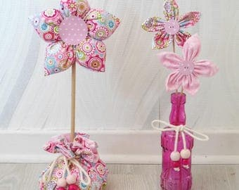 Fabric flowers - set of 2 home decorations - pink and light pink