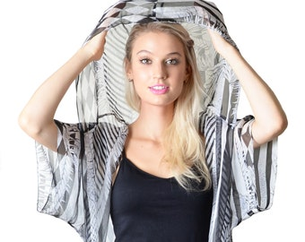 Erin Black & White 100% Silk Chiffon Hood Cover-Up