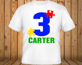 Autism Puzzle Piece Birthday Shirt