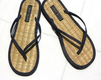 Flip-Flops of rice straw with thong blue denim (4.5-9.5)