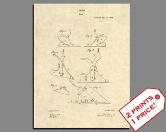 Farm Art - John Deere Plow Patent Art Print - Vintage Farming Prints - Folk Art Patent Prints - John Deere Tractor Plow Patent Print -  42
