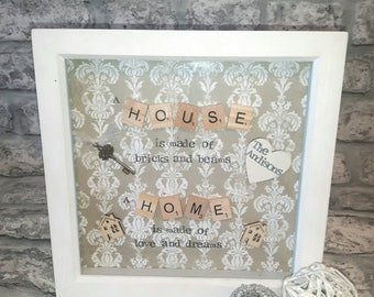 """New Home, First Home, House Warming Gift, Scrabble Art Gift.   """"A Home Is Made Of Love And Dreams"""" Decor, Present."""
