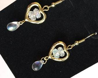 Kawaii Gold Heart and Iridescent Glass Bead Drop Dangle Earrings