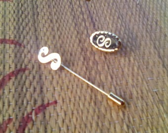 Vintage Initial Hat Pin and Regular Pin Letter S Gold