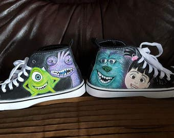 Monsters Inc inspired hand painted shoes //custom shoes//custom sneakers//gifts for her//birthday gift//shoe artwork