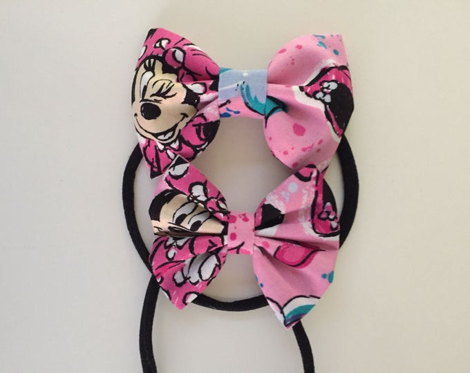 Minnie Mouse fabric hair bow or bow tie