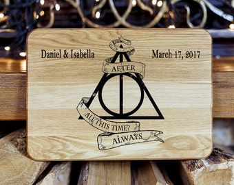 Personalized Cutting Board Harry Potter Wedding Gift Housewarming gift Gift for Couple Wedding Cutting Board Harry Potter Gift Cutting Board