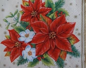 2 x Christmas Napkins, Poinsettia Theme Napkin, Chistmas Dinner Napkins, Holiday Napkins, Decoupage Napkins, Xmas Paper Napkins (POINSETTIA)