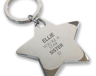 Personalised engraved You're a Star SISTER keyring gift, deluxe chunky star keyring - STK15