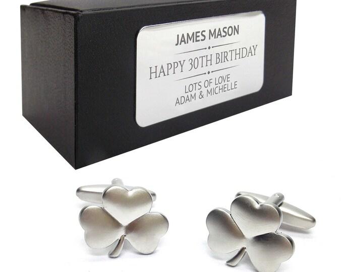 Irish shamrock clover CUFFLINKS 30th, 40th, 50th, 60th, 70th birthday gift, presentation box PERSONALISED ENGRAVED plate - 004