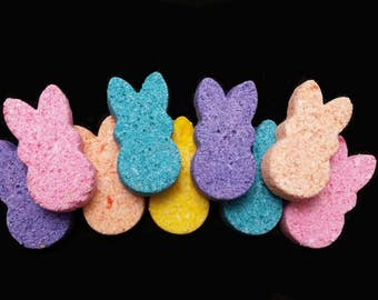 12 EASTER PEEP BATHBOMBS, bath bomb, bathbomb, peeps, easter, basket stuffer, easter bunny, easter gift set, kids spa, peeps, basket stuffer