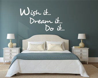 Wish it Dream it Do it yourself vinyl Decal Wall stickers decor Bedroom Living Room