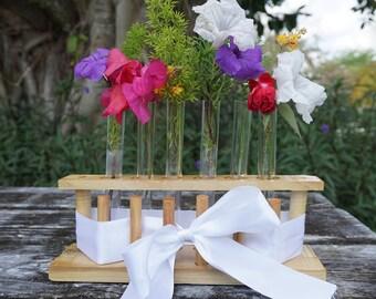 Wooden Test Tube Rack/ Wedding Centerpiece/ Table Number Centerpiece