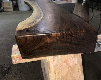 Sculpted Black Walnut Live Edge Mantel