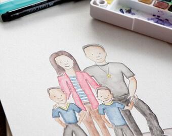 Custom Family Watercolor Portrait Full Length 8x10
