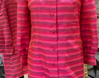 Vintage 1960's silk dupion taffeta summer coat jacket size 10/12