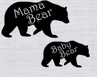 Mama Bear Baby Bear SVG bundle, mama bear clipart, mama bear svg, svg files for silhouette cameo, cricut explore, cut files, bear svg