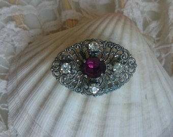 Violet vintage Star - filigree rhinestone brooch, PIN, PIN, jewelry, silver, lapel pin, jewel