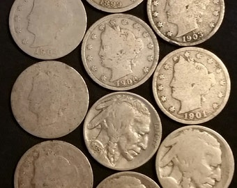 Set of 10 Mostly Lower Grade Buffalo and Victory Nickels 1899 - 1935 -- Some with Unreadable Dates