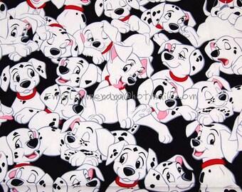 zg003 - 1 Yard SDLP Cotton Woven Fabric - Cartoon Characters, 101 Dalmatians - Black (W140)