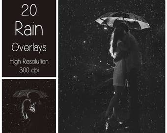 20 Rain Overlays - Rain Textures - Rain Photoshop Overlays - Raindrop - Autumn - Rainy Weather - Photography Overlay - Photoshop Texture