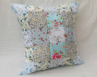 "Blue 16"" Patchwork Cushion"