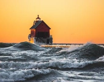 Golden Hour, Swells Included. Grand Haven, Michigan. Photography Print. Michigan Photography. Landscape. Wall Art. Home Decor.