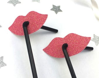 Glittery Lip Straws - Hen Party Straws - Classy Hen Party Straws - Pack of 10 - Glittery Light Pink