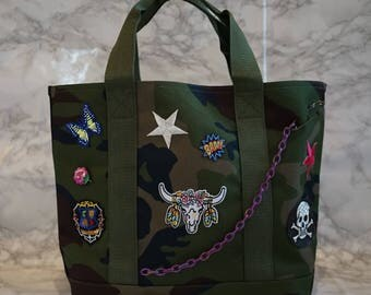 Customized Camouflage Tote with Patches