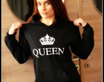 QUEEN hooded sweater black