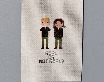 Hunger Games Cross Stitch Fan Art - Real or Not Real? Katniss & Peeta